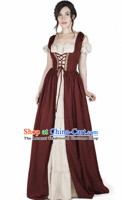 Western Halloween Cosplay Housemaid Dress European Traditional Middle Ages Female Civilian Costume for Women