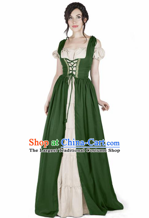 Western Halloween Cosplay Housemaid Green Dress European Traditional Middle Ages Female Civilian Costume for Women