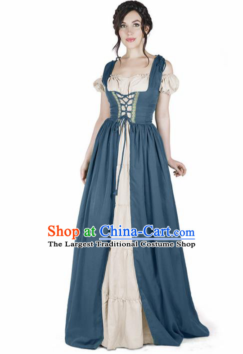 Western Halloween Cosplay Housemaid Blue Dress European Traditional Middle Ages Female Civilian Costume for Women