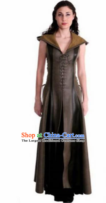 Western Halloween Cosplay Knight Leather Dress European Traditional Middle Ages Female Civilian Costume for Women