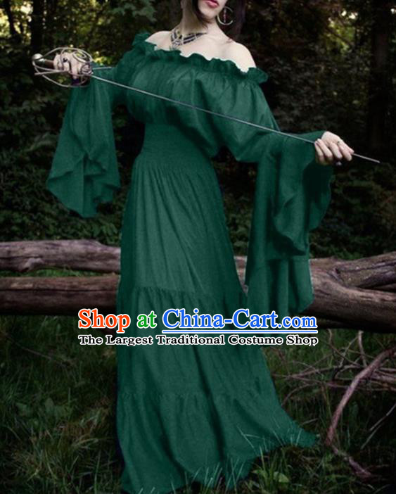 Western Halloween Cosplay Court Green Dress European Traditional Middle Ages Princess Costume for Women
