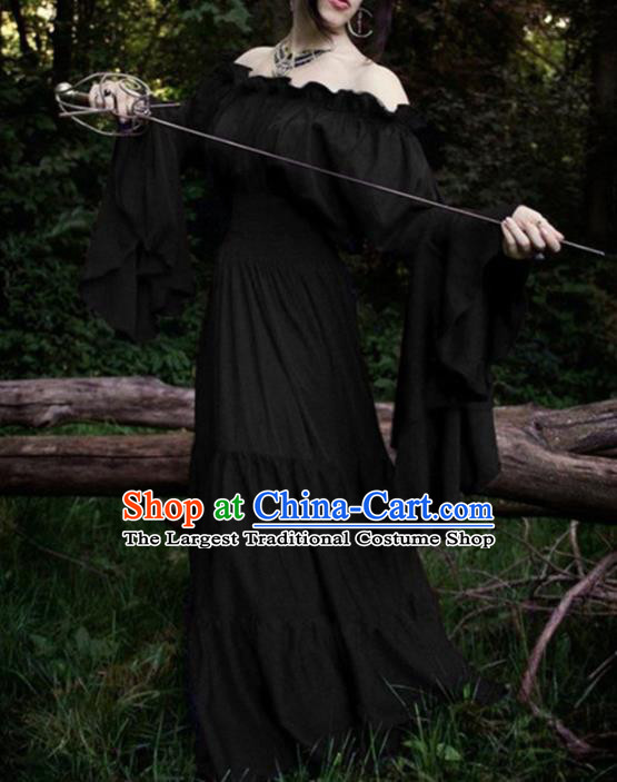 Western Halloween Cosplay Court Black Dress European Traditional Middle Ages Princess Costume for Women