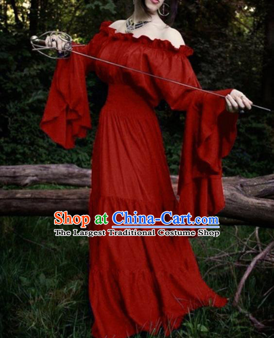 Western Halloween Cosplay Court Red Dress European Traditional Middle Ages Princess Costume for Women