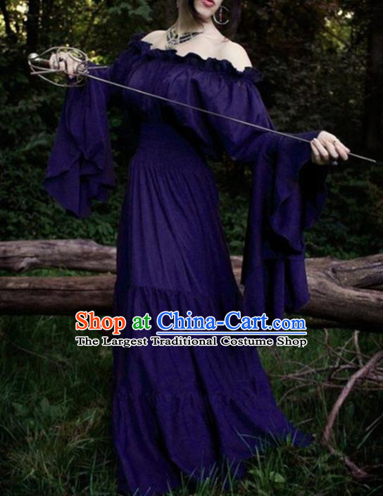 Western Halloween Cosplay Court Purple Dress European Traditional Middle Ages Princess Costume for Women