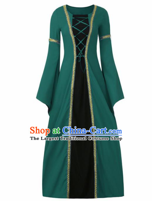 Western Halloween Cosplay Green Dress European Traditional Middle Ages Court Princess Costume for Women