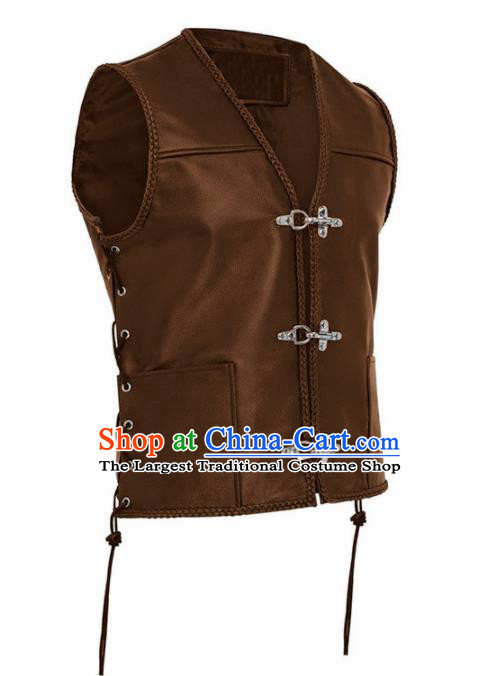 Western Middle Ages Drama Brown Leather Vest European Traditional Knight Costume for Men