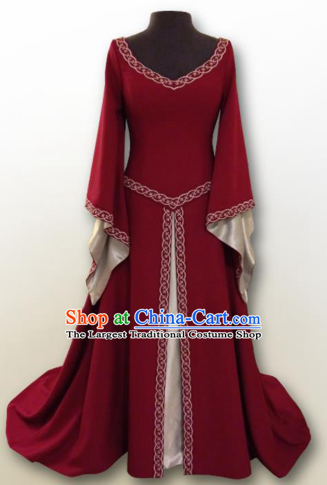 Western Halloween Renaissance Cosplay Queen Wine Red Dress European Traditional Middle Ages Court Costume for Women