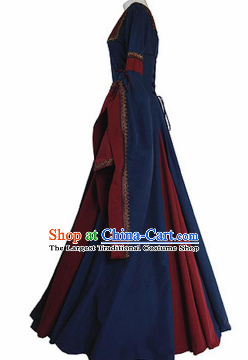 Western Halloween Renaissance Cosplay Queen Deep Blue Dress European Traditional Middle Ages Court Costume for Women