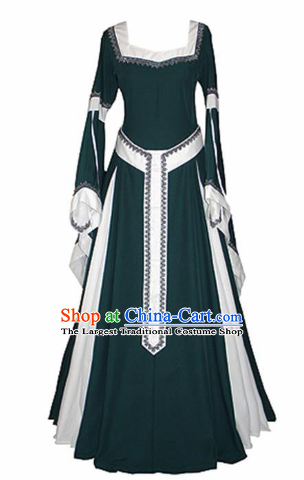Western Halloween Renaissance Cosplay Queen Green Dress European Traditional Middle Ages Court Costume for Women