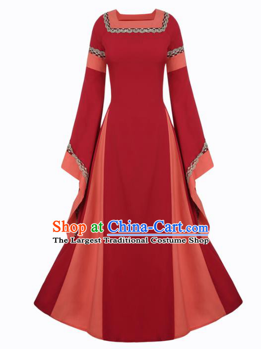 Western Halloween Renaissance Cosplay Queen Red Dress European Traditional Middle Ages Court Costume for Women