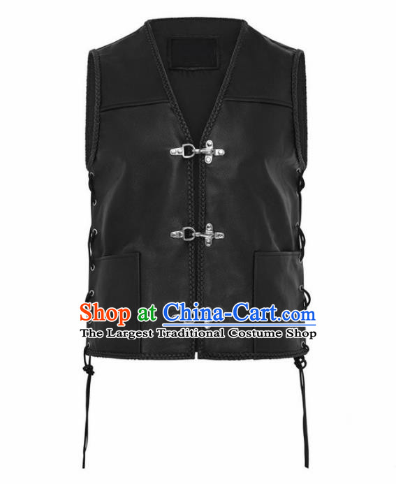 Western Middle Ages Drama Black Leather Vest European Traditional Knight Costume for Men