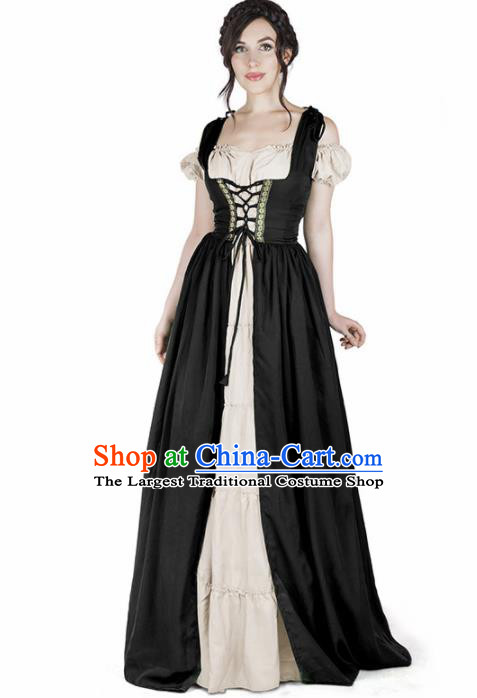 Western Halloween Cosplay Housemaid Black Dress European Traditional Middle Ages Female Civilian Costume for Women