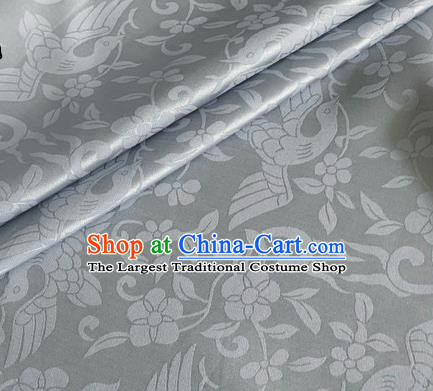 Asian Chinese Classical Birds Pattern Design Grey Brocade Jacquard Fabric Traditional Cheongsam Silk Material