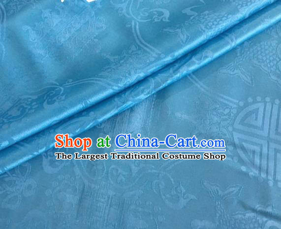 Asian Chinese Classical Double Fish Pattern Design Light Blue Silk Fabric Traditional Cheongsam Material
