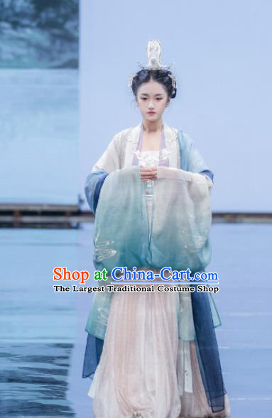 Traditional Chinese Ancient Palace Lady Embroidered Dress Song Dynasty Royal Princess Costumes for Women