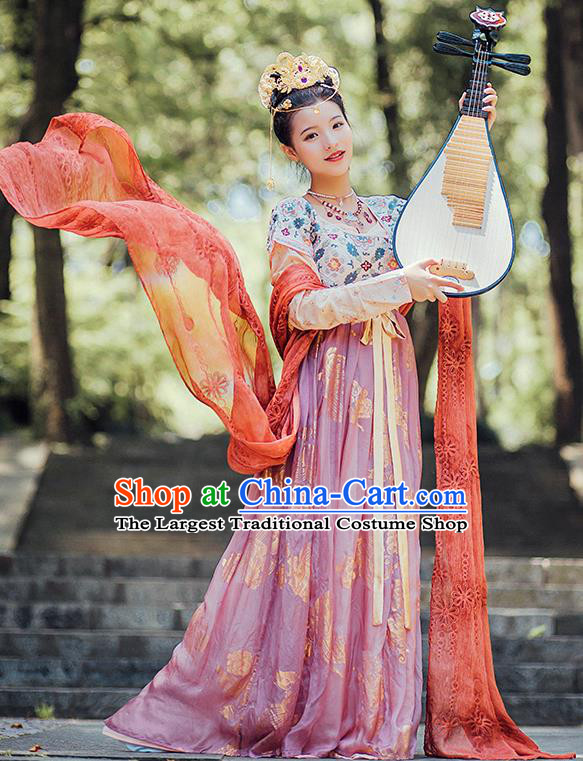 Chinese Ancient Court Dance Lady Embroidered Dress Traditional Tang Dynasty Royal Princess Costumes for Women