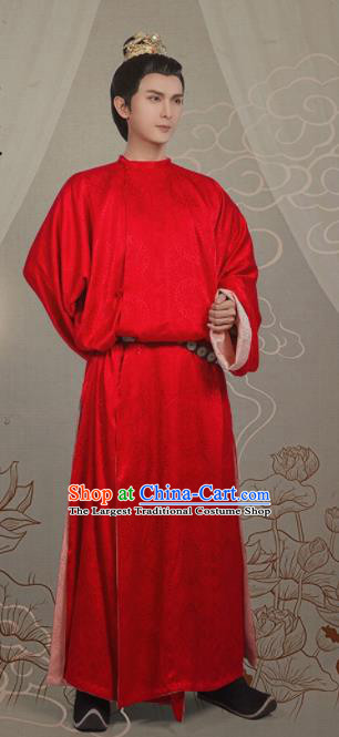 Chinese Ancient Royal Prince Red Clothing Traditional Tang Dynasty Nobility Childe Costumes for Men