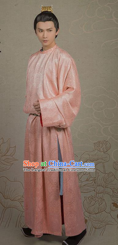 Chinese Ancient Nobility Childe Pink Clothing Traditional Tang Dynasty Royal Prince Costumes for Men