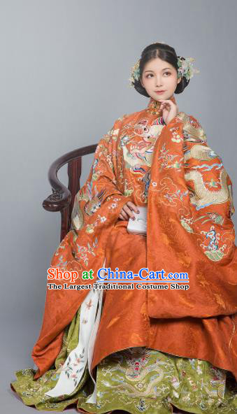 Chinese Ancient Queen Wedding Embroidered Dress Traditional Ming Dynasty Court Lady Costumes for Women