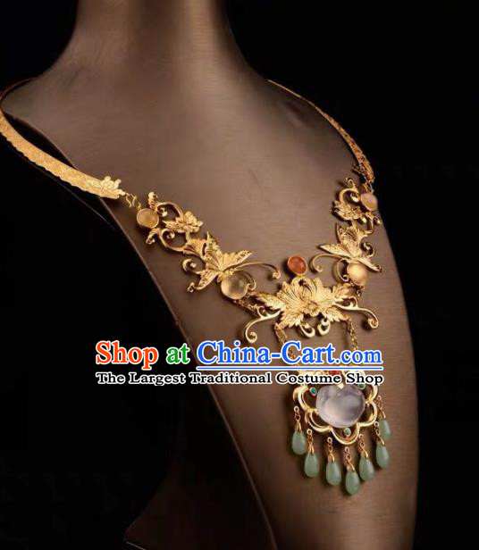 Chinese Traditional Carving Lotus Necklace Handmade Hanfu Necklet Accessories for Women