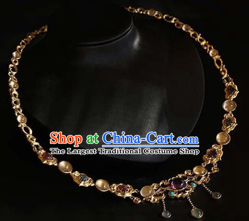 Chinese Traditional Treasure Necklace Handmade Hanfu Necklet Accessories for Women