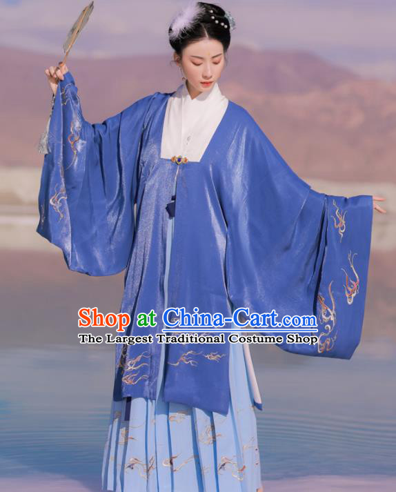 Chinese Ancient Royal Dowager Embroidered Blue Dress Traditional Ming Dynasty Court Countess Costumes for Women