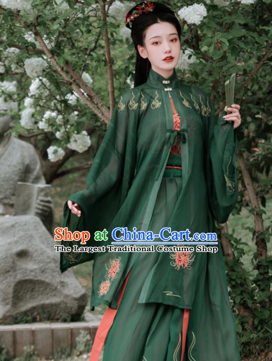 Chinese Ancient Embroidered Green Dress Traditional Ming Dynasty Aristocratic Lady Costumes for Women