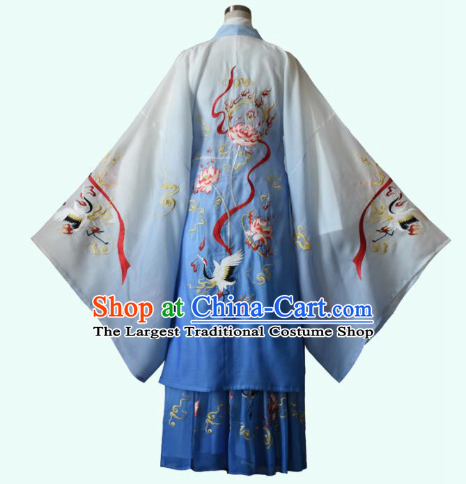 Chinese Ancient Nobility Childe Embroidered Blue Clothing Traditional Jin Dynasty Royal Prince Costumes for Men
