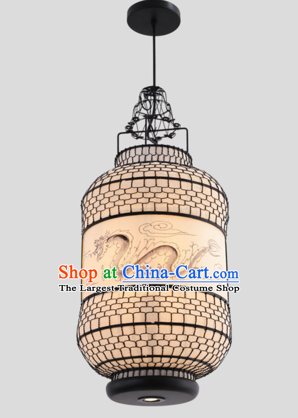 Free Worldwide Delivery Tube Shape Traditional White Chinese Classical Dragon Handmade Iron Mesh Lantern Palace Lanterns
