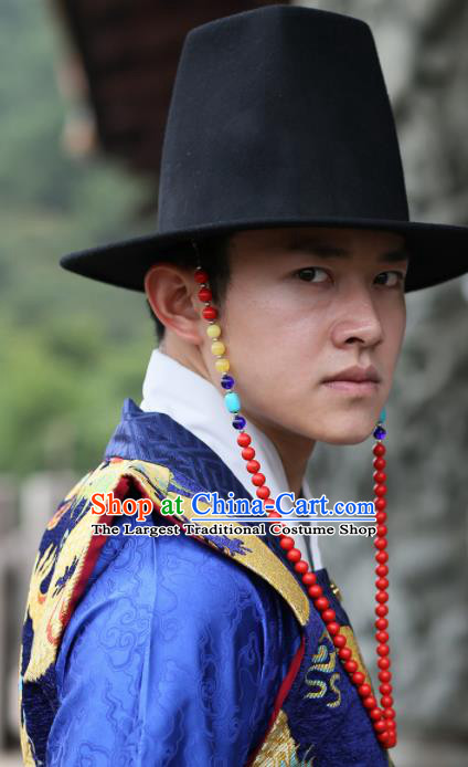 Traditional Chinese Ming Dynasty Swordsman Black Hat Ancient Imperial Guards Headwear for Men