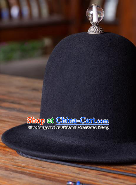 Traditional Chinese Ming Dynasty Swordsman Black Woolen Hat Ancient Imperial Guards Headwear for Men