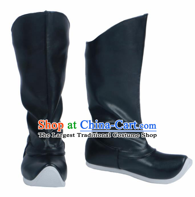 Chinese Traditional Ming Dynasty Black Leather Boots Handmade Hanfu Shoes Ancient Swordsman Shoes for Men