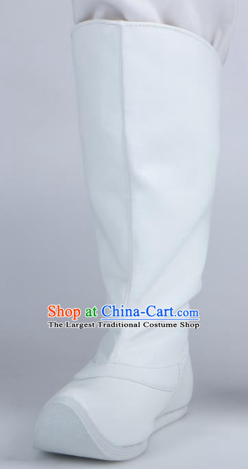 Chinese Traditional Ming Dynasty White Leather Boots Handmade Hanfu Shoes Ancient Swordsman Shoes for Men