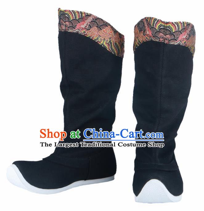 Chinese Traditional Ming Dynasty Black Boots Handmade Hanfu Shoes Ancient Swordsman Shoes for Men