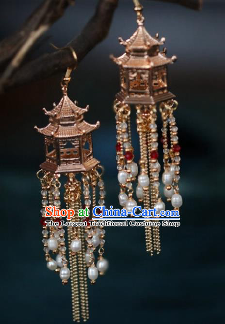 Chinese Traditional Hanfu Pearls Tassel Palace Earrings Handmade Ear Jewelry Accessories for Women