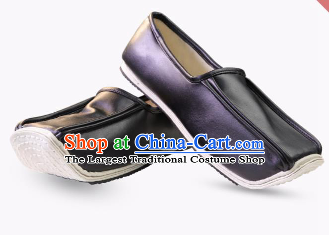 Chinese Traditional Ming Dynasty Taoist Black Leather Shoes Handmade Hanfu Shoes Ancient Scholar Shoes for Men
