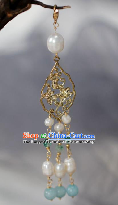Chinese Traditional Ming Dynasty Pearls Tassel Golden Pendant Handmade Ancient Princess Jewelry Accessories for Women