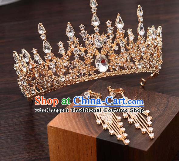 Top Handmade Bride Crystal Golden Royal Crown Wedding Hair Accessories for Women