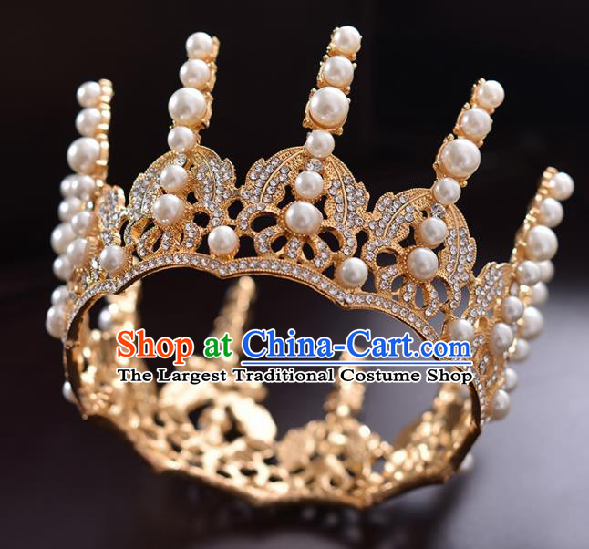 Top Handmade Bride Crystal Golden Round Royal Crown Wedding Hair Accessories for Women