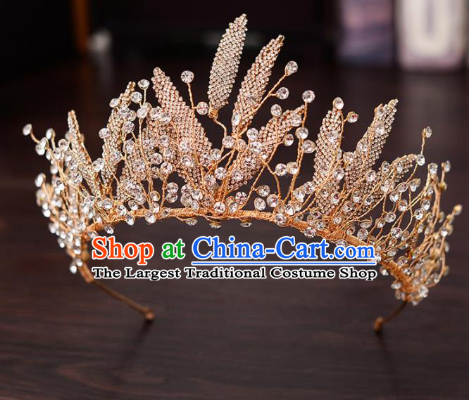 Top Handmade Bride Golden Crystal Leaf Royal Crown Wedding Hair Accessories for Women