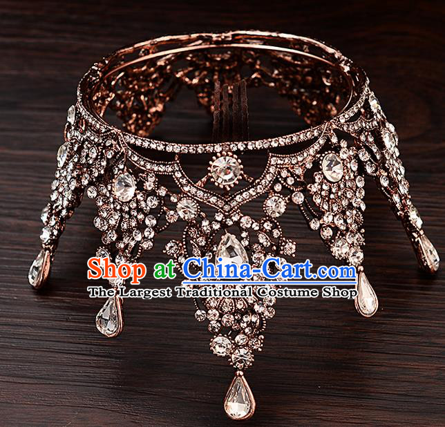 Top Handmade Baroque Princess Crystal Round Royal Crown Wedding Bride Hair Accessories for Women