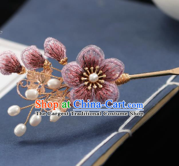 Chinese Handmade Princess Peach Blossom Hairpins Ancient Hanfu Hair Accessories for Women
