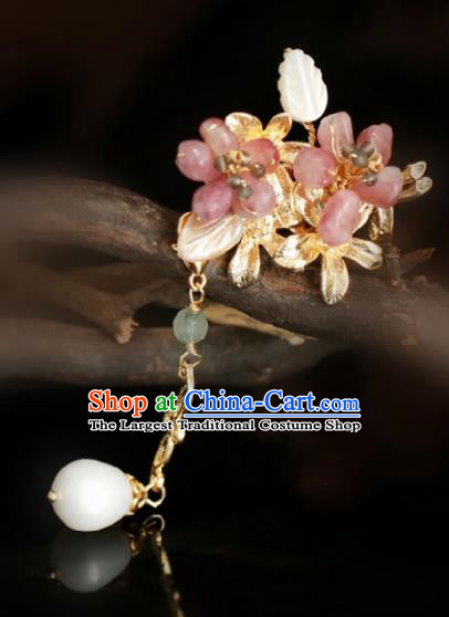Chinese Handmade Tang Dynasty Princess Pink Stone Peach Blossom Hairpins Ancient Hanfu Hair Accessories for Women