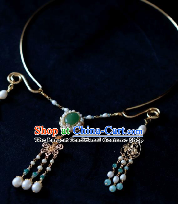 Chinese Traditional Ming Dynasty Precious Stones Necklace Handmade Ancient Princess Jewelry Accessories for Women