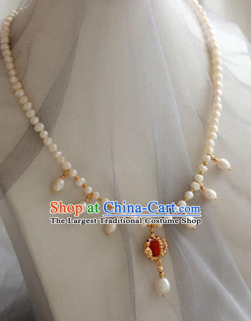 Chinese Traditional Ming Dynasty Pearls Necklace Handmade Ancient Princess Jewelry Accessories for Women