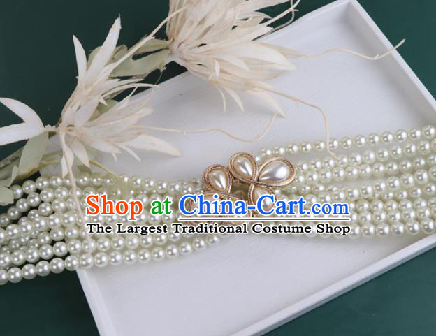 Chinese Traditional Ming Dynasty White Beads Waistband Handmade Ancient Princess Belt Jewelry Accessories for Women