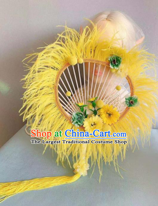 Chinese Traditional Yellow Palace Fans Handmade Ancient Princess Feather Round Fan for Women