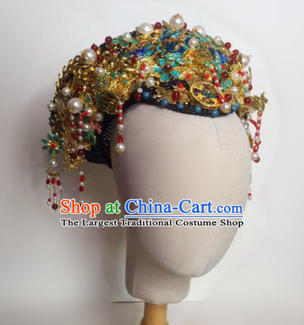 Chinese Handmade Qing Dynasty Court Hat Phoenix Coronet Hat Ancient Empress Hair Accessories for Women