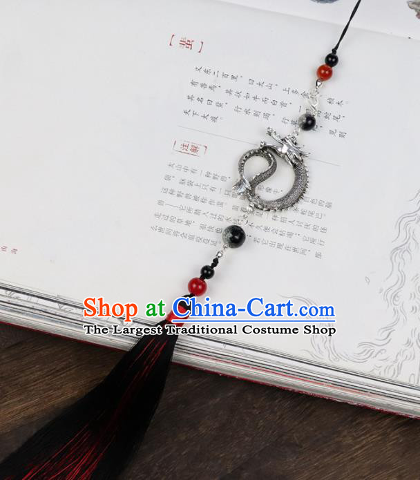 Chinese Traditional Ming Dynasty Dragon Waist Pendant Handmade Ancient Swordsman Belt Tassel Accessories