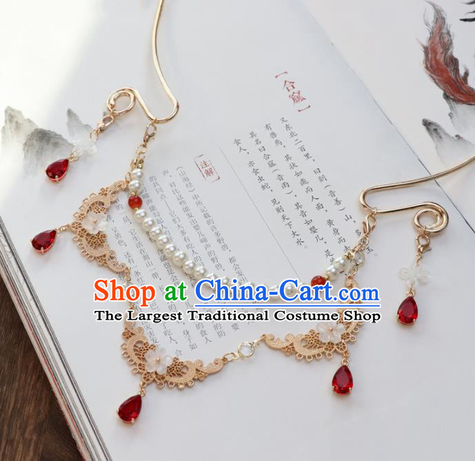 Chinese Traditional Hanfu Golden Necklace Handmade Ancient Princess Necklet Accessories for Women